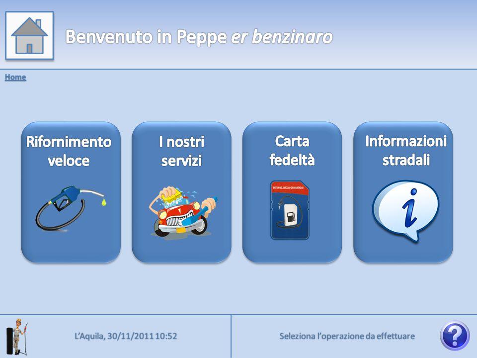 Benzina verde Home > Rifornimento Diesel Diesel + Metano GPL 5€ 10€ 20€ PIENO Indietro Prosegui Prosegui L'Aquila, 30/11/2011 10:52