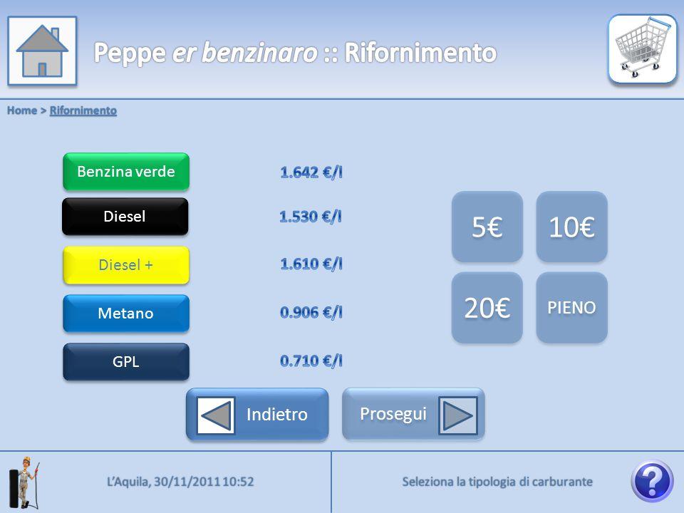 Benzina verde Home > Rifornimento Diesel Diesel + Metano GPL 5€ 10€ 20€ PIENO Indietro Prosegui Seleziona la quantità desiderata L'Aquila, 30/11/2011 10:52