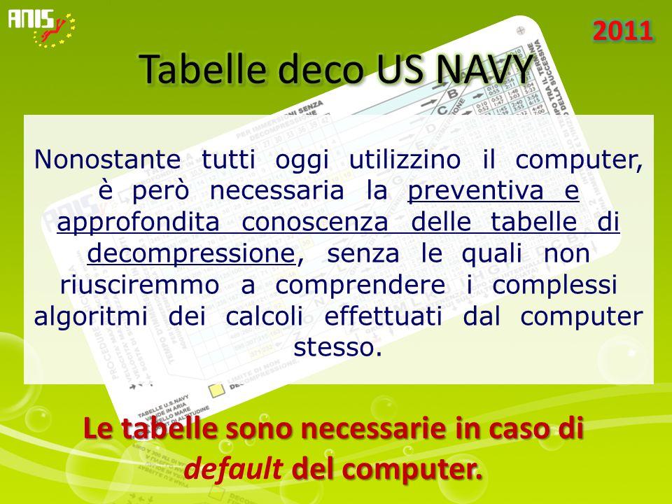 Nonostante tutti oggi utilizzino il computer, è però necessaria la preventiva e approfondita conoscenza delle tabelle di decompressione, senza le quali non riusciremmo a comprendere i complessi algoritmi dei calcoli effettuati dal computer stesso.