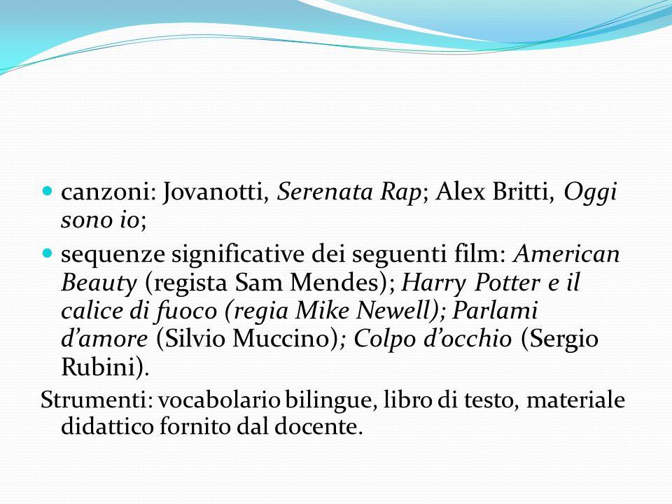 canzoni: Jovanotti, Serenata Rap; Alex Britti, Oggi sono io; sequenze significative dei seguenti film: American Beauty (regista Sam Mendes); Harry Pot