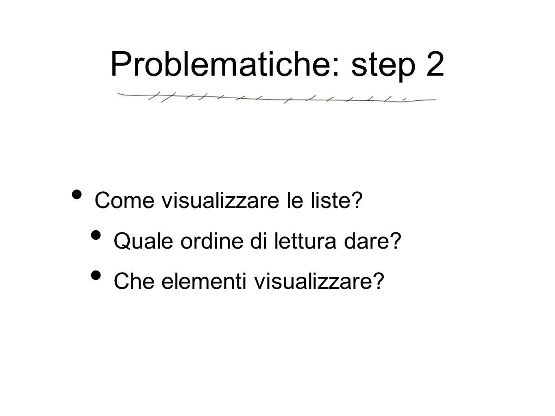 Problematiche: step 2 Come visualizzare le liste. Quale ordine di lettura dare.