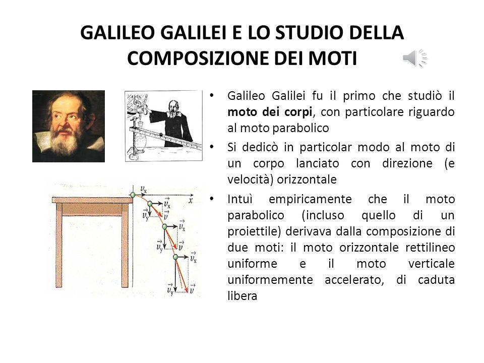 GALILEO GALILEI E LO STUDIO DELLA COMPOSIZIONE DEI MOTI Galileo Galilei fu il primo che studiò il moto dei corpi, con particolare riguardo al moto parabolico Si dedicò in particolar modo al moto di un corpo lanciato con direzione (e velocità) orizzontale Intuì empiricamente che il moto parabolico (incluso quello di un proiettile) derivava dalla composizione di due moti: il moto orizzontale rettilineo uniforme e il moto verticale uniformemente accelerato, di caduta libera