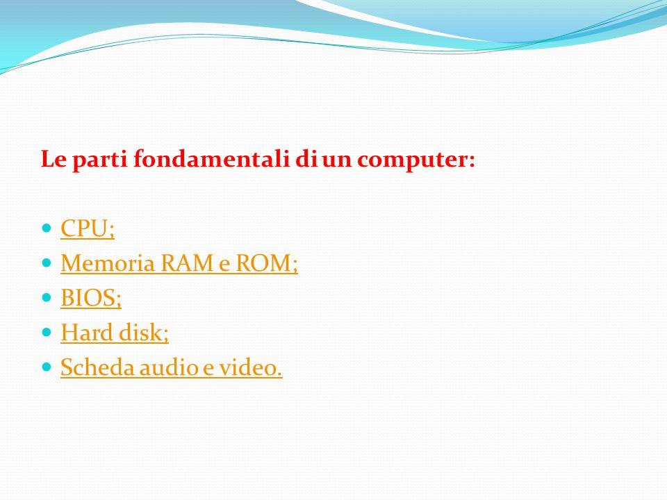 Le parti fondamentali di un computer: CPU; Memoria RAM e ROM; BIOS; Hard disk; Scheda audio e video.
