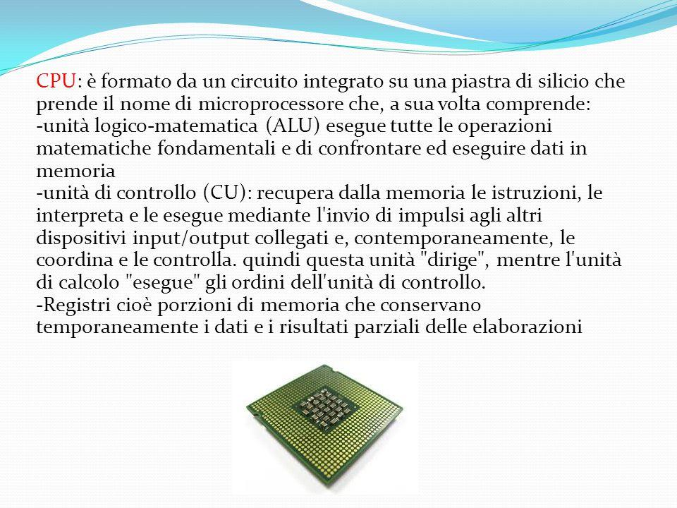 CPU: è formato da un circuito integrato su una piastra di silicio che prende il nome di microprocessore che, a sua volta comprende: -unità logico-mate