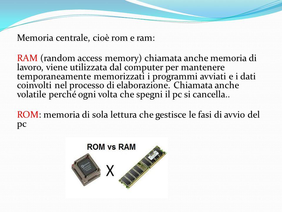 Memoria centrale, cioè rom e ram: RAM (random access memory) chiamata anche memoria di lavoro, viene utilizzata dal computer per mantenere temporaneam