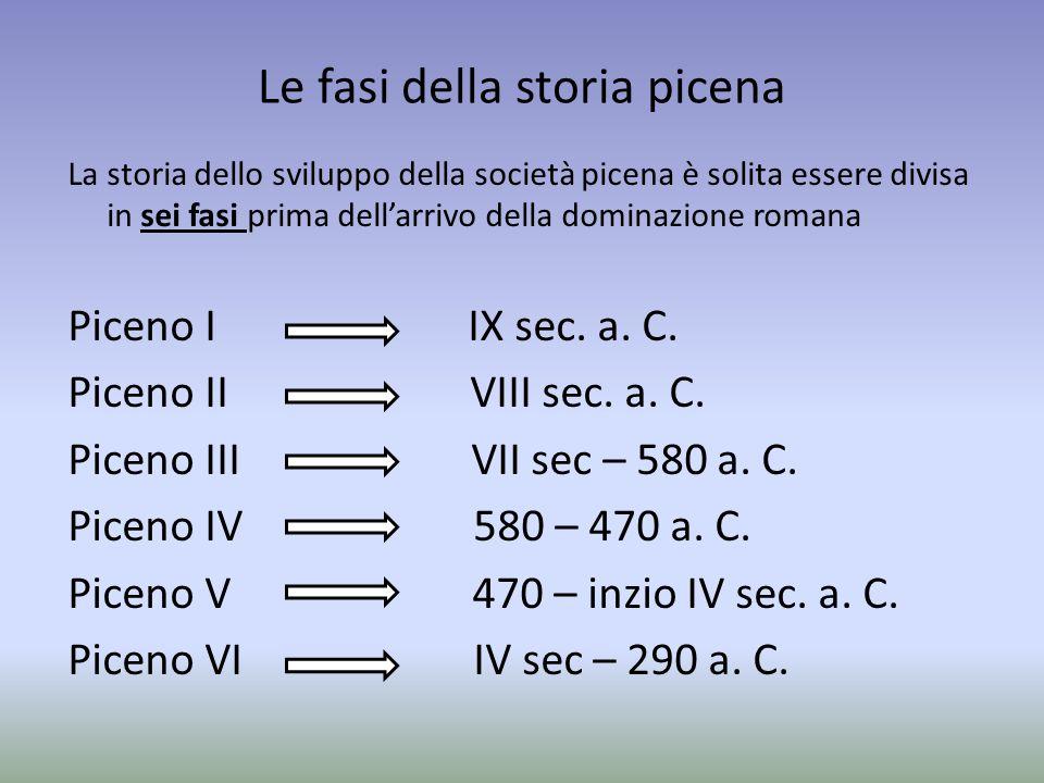 Le fasi della storia picena La storia dello sviluppo della società picena è solita essere divisa in sei fasi prima dell'arrivo della dominazione roman