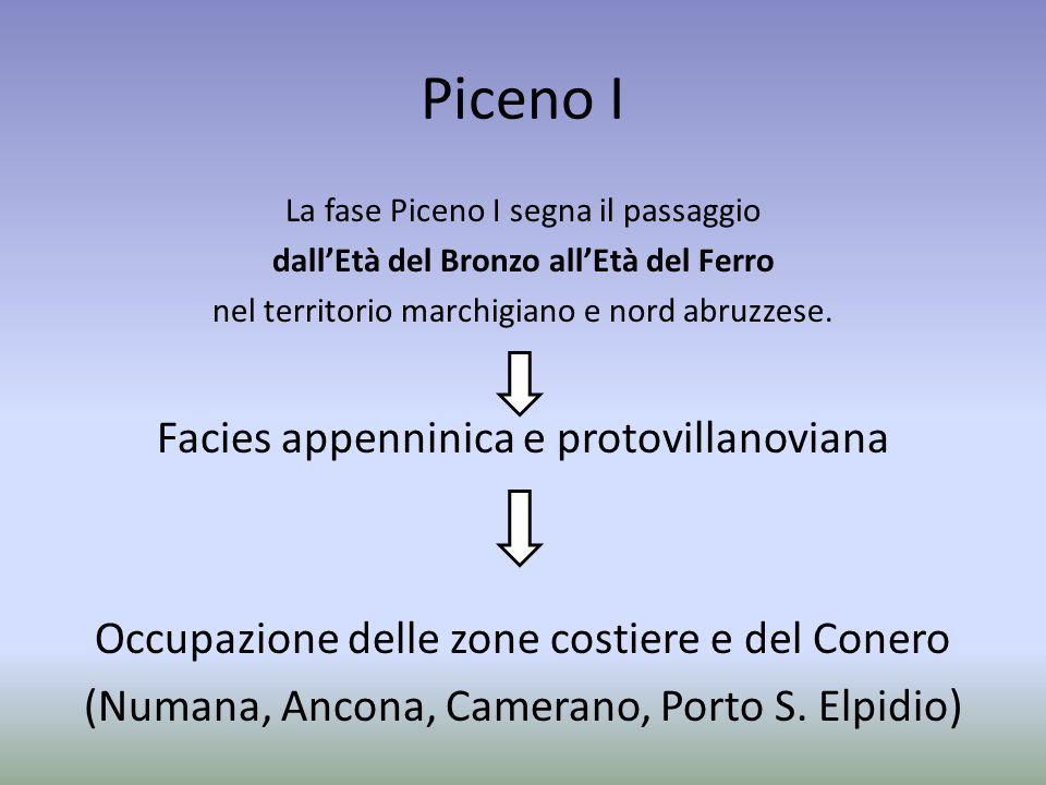Piceno I La fase Piceno I segna il passaggio dall'Età del Bronzo all'Età del Ferro nel territorio marchigiano e nord abruzzese. Facies appenninica e p