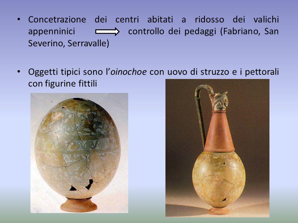 Concetrazione dei centri abitati a ridosso dei valichi appenninici controllo dei pedaggi (Fabriano, San Severino, Serravalle) Oggetti tipici sono l'oi