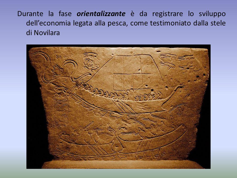 Durante la fase orientalizzante è da registrare lo sviluppo dell'economia legata alla pesca, come testimoniato dalla stele di Novilara