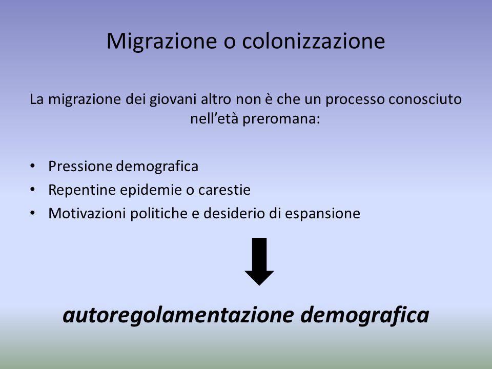 Migrazione o colonizzazione La migrazione dei giovani altro non è che un processo conosciuto nell'età preromana: Pressione demografica Repentine epide