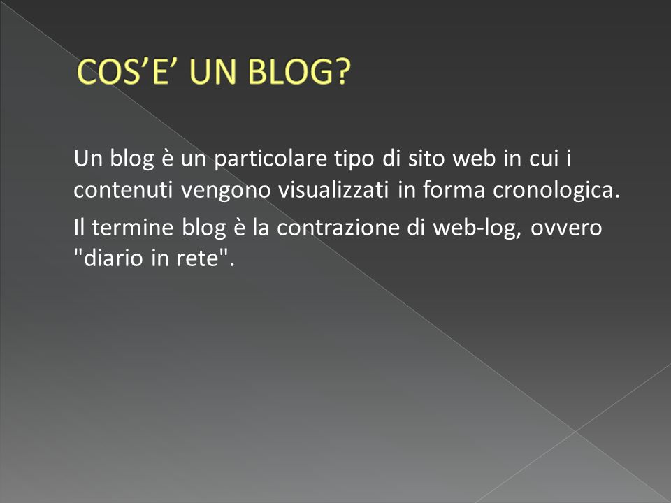 Un blog è un particolare tipo di sito web in cui i contenuti vengono visualizzati in forma cronologica.