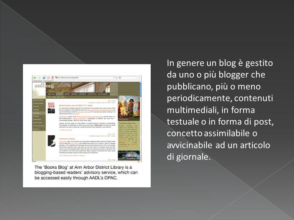  Blogger è un servizio di blogging attualmente gestito da Google a cui è possibile accedere gratuitamente.