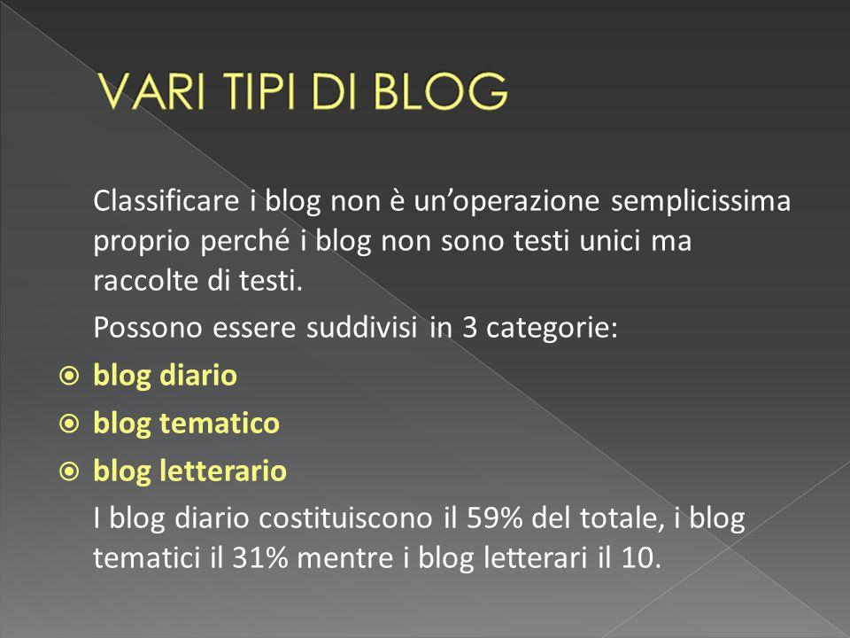 Classificare i blog non è un'operazione semplicissima proprio perché i blog non sono testi unici ma raccolte di testi.