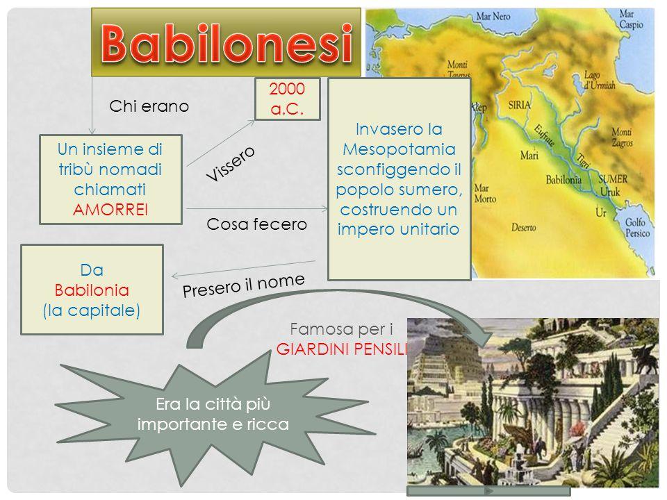 Chi erano Un insieme di tribù nomadi chiamati AMORREI 2000 a.C. Vissero Cosa fecero Invasero la Mesopotamia sconfiggendo il popolo sumero, costruendo