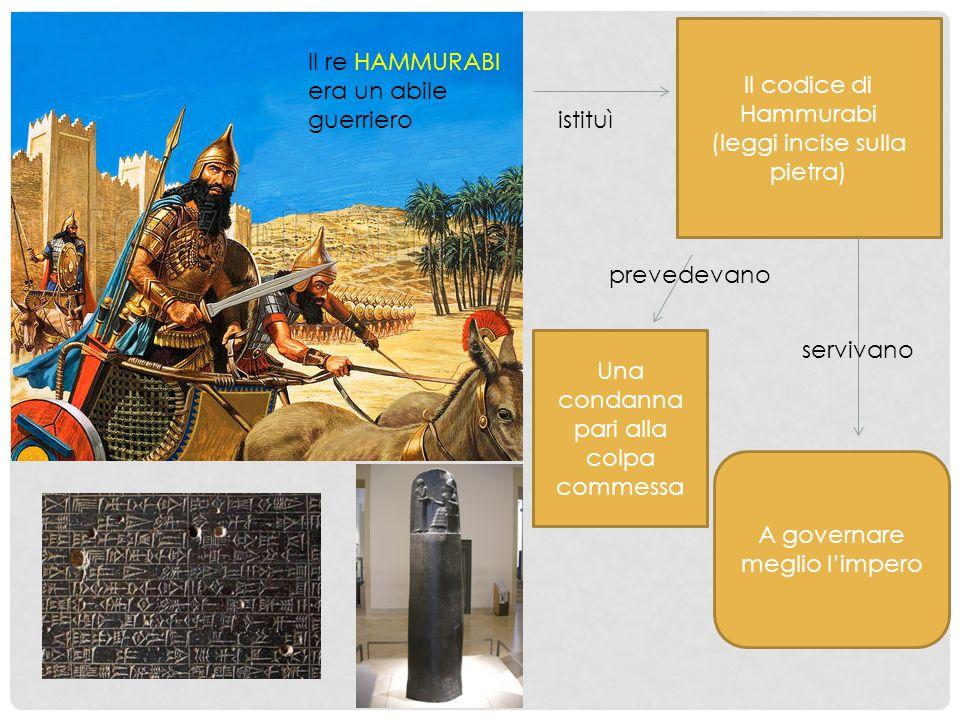 Il re HAMMURABI era un abile guerriero istituì Il codice di Hammurabi (leggi incise sulla pietra) prevedevano Una condanna pari alla colpa commessa se