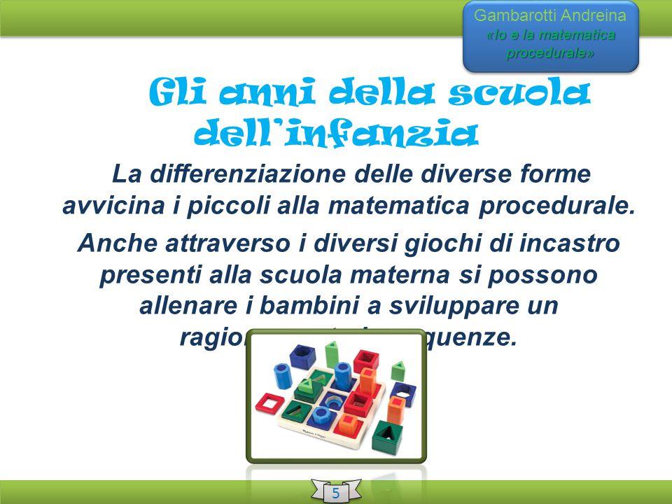 «Io e la matematica procedurale» Gambarotti Andreina «Io e la matematica procedurale» 5 5 La differenziazione delle diverse forme avvicina i piccoli alla matematica procedurale.
