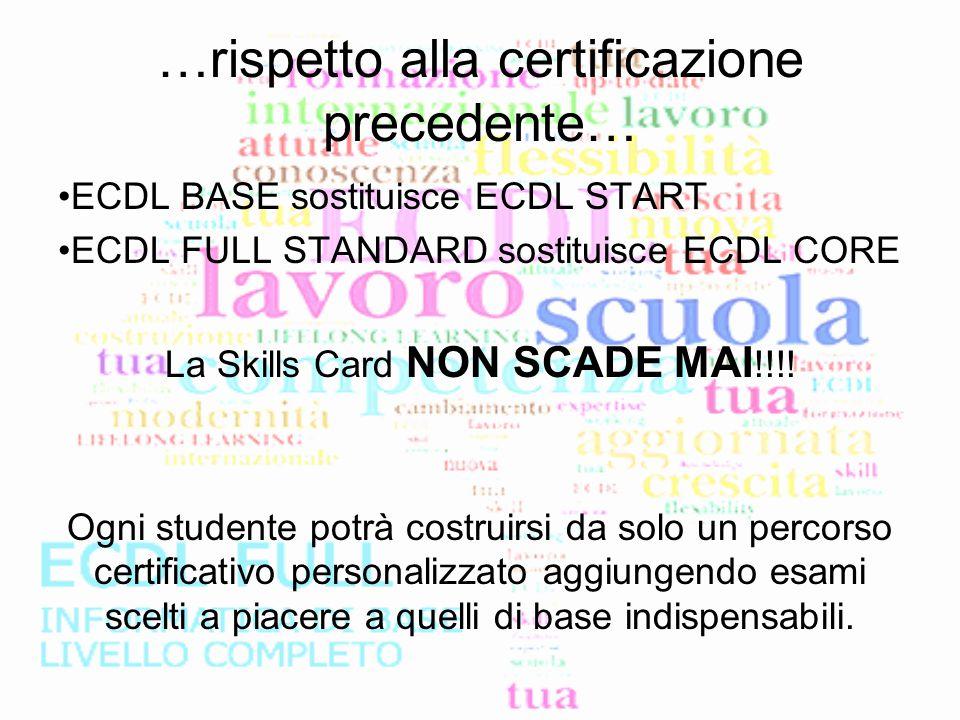…rispetto alla certificazione precedente… ECDL BASE sostituisce ECDL START ECDL FULL STANDARD sostituisce ECDL CORE La Skills Card NON SCADE MAI !!!!