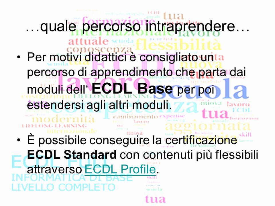 …quale percorso intraprendere… Per motivi didattici è consigliato un percorso di apprendimento che parta dai moduli dell' ECDL Base per poi estendersi