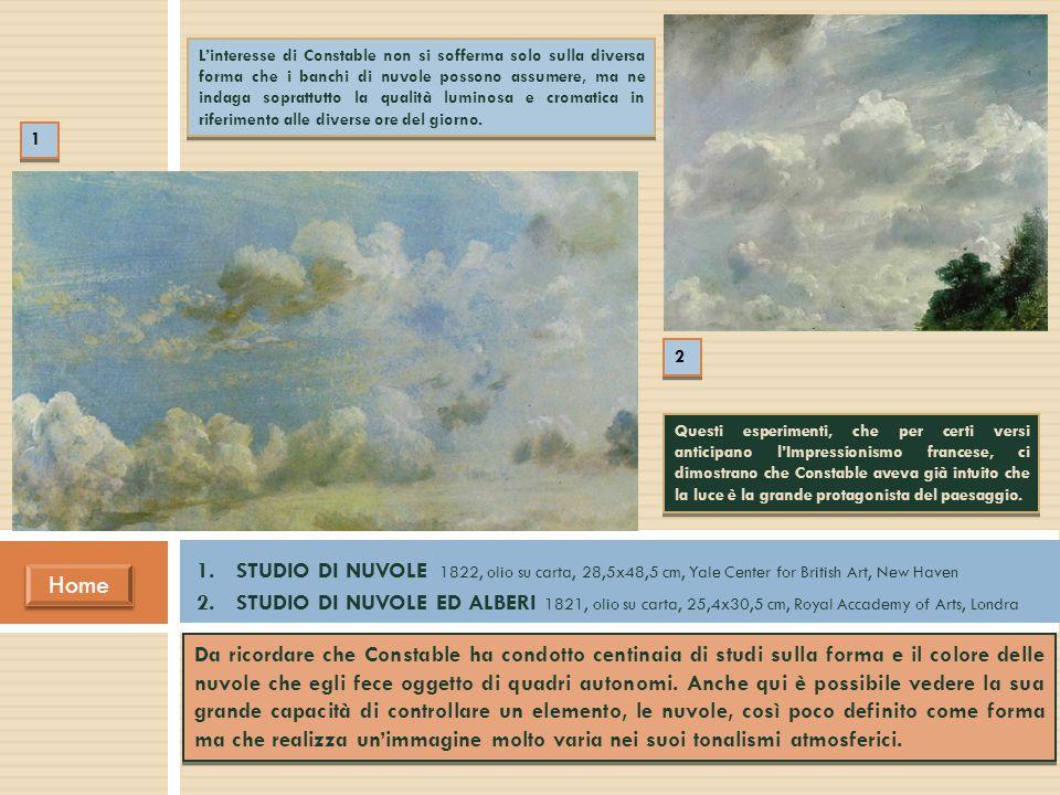 Da ricordare che Constable ha condotto centinaia di studi sulla forma e il colore delle nuvole che egli fece oggetto di quadri autonomi. Anche qui è p