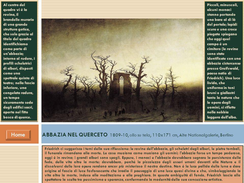 ABBAZIA NEL QUERCETO 1809-10, olio su tela, 110x171 cm, Alte Nationalgalerie, Berlino Home Home Friedrich ci suggerisce i temi della sua riflessione: