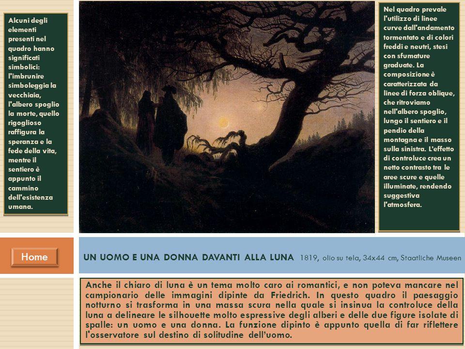 Anche il chiaro di luna è un tema molto caro ai romantici, e non poteva mancare nel campionario delle immagini dipinte da Friedrich. In questo quadro