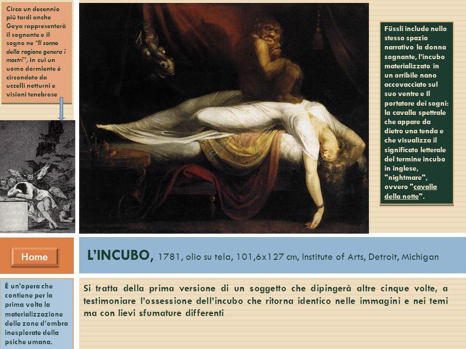 L'INCUBO, 1781, olio su tela, 101,6x127 cm, Institute of Arts, Detroit, Michigan Home Home Si tratta della prima versione di un soggetto che dipingerà