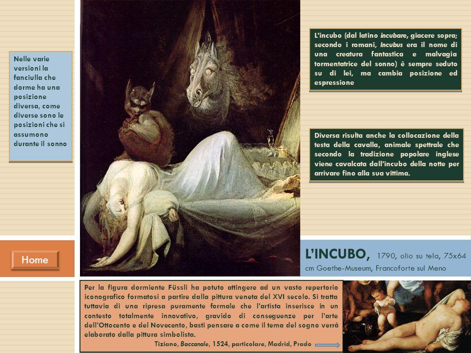 Nelle varie versioni la fanciulla che dorme ha una posizione diversa, come diverse sono le posizioni che si assumono durante il sonno L'INCUBO, 1790,