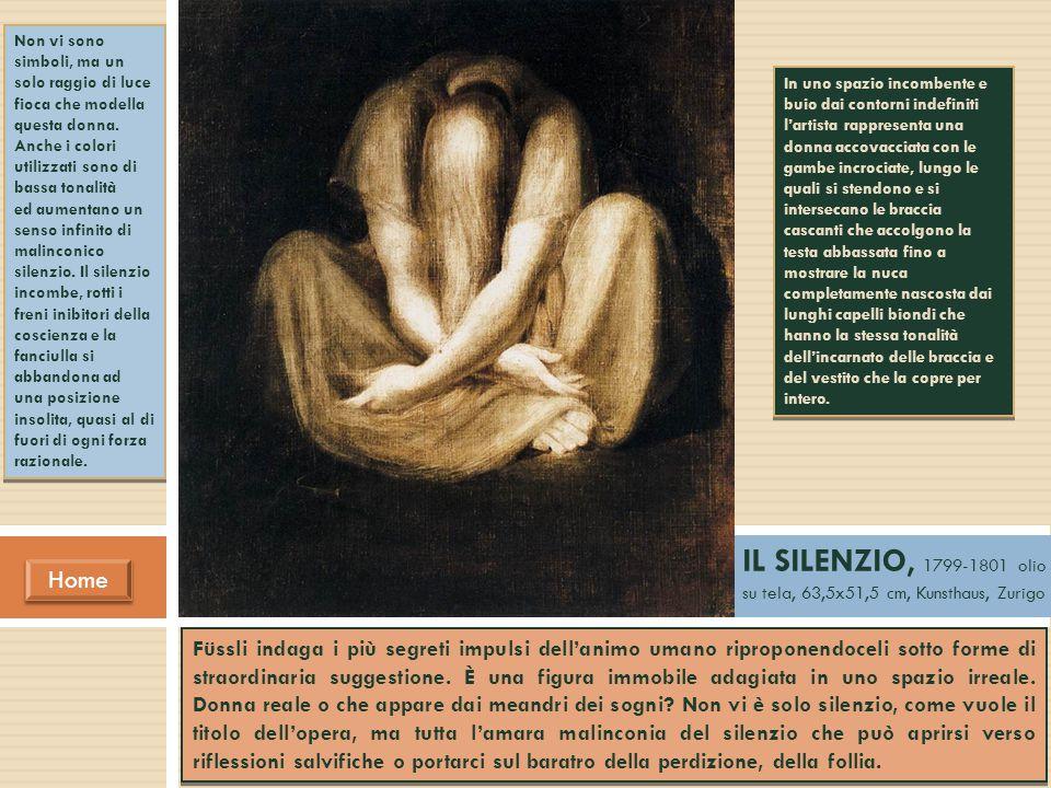 Home IL SILENZIO, 1799-1801 olio su tela, 63,5x51,5 cm, Kunsthaus, Zurigo In uno spazio incombente e buio dai contorni indefiniti l'artista rappresent