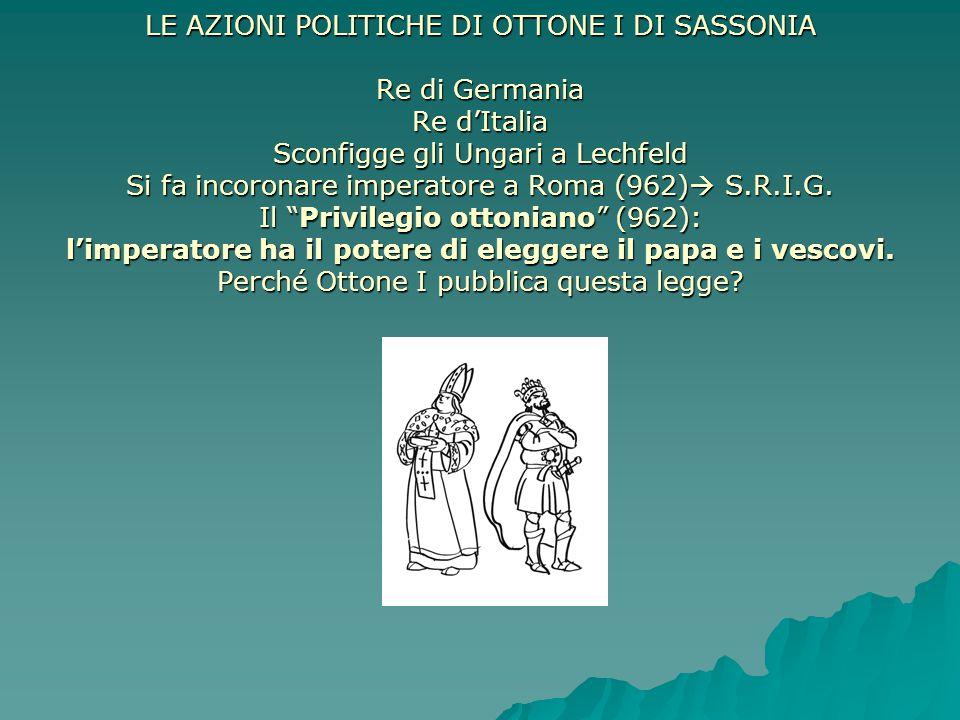  LE AZIONI POLITICHE DI OTTONE I DI SASSONIA Re di Germania Re d'Italia Sconfigge gli Ungari a Lechfeld Si fa incoronare imperatore a Roma (962)  S.