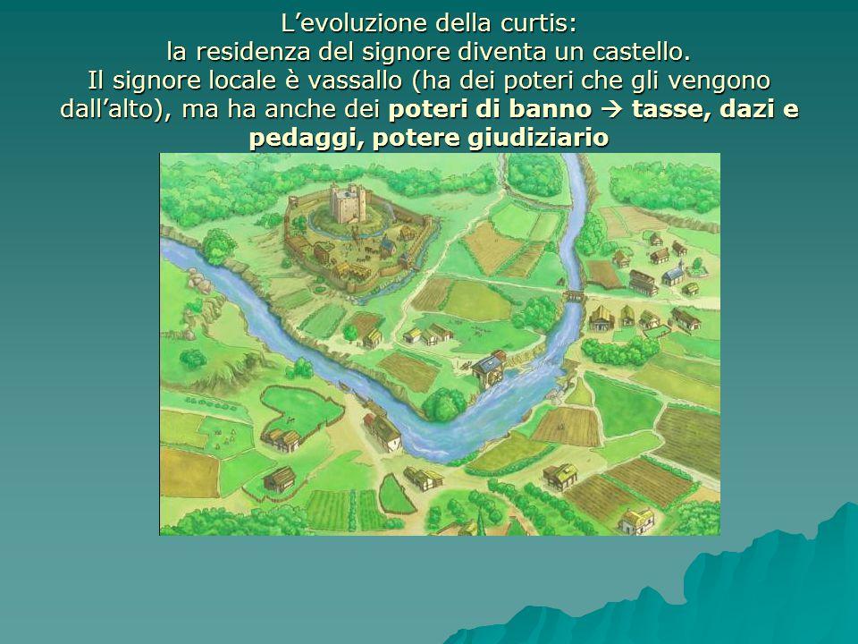 L'evoluzione della curtis: la residenza del signore diventa un castello. Il signore locale è vassallo (ha dei poteri che gli vengono dall'alto), ma ha