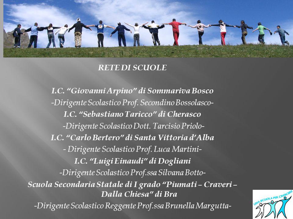 """RETE DI SCUOLE I.C. """"Giovanni Arpino"""" di Sommariva Bosco -Dirigente Scolastico Prof. Secondino Bossolasco- I.C. """"Sebastiano Taricco"""" di Cherasco -Diri"""