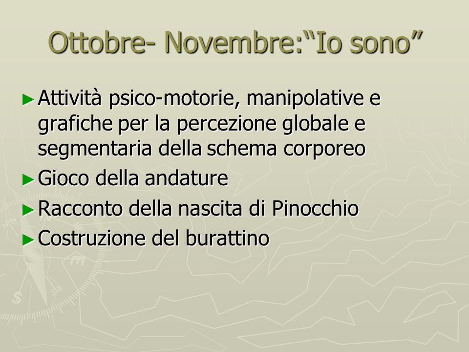 """Ottobre- Novembre:""""Io sono"""" ► Attività psico-motorie, manipolative e grafiche per la percezione globale e segmentaria della schema corporeo ► Gioco de"""