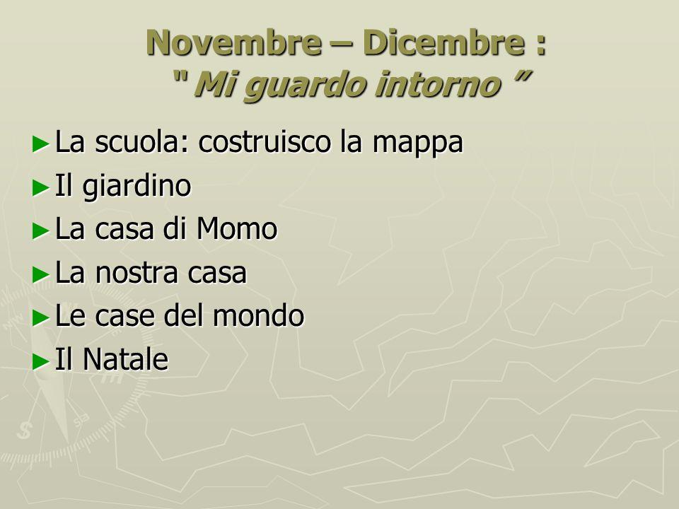 """Novembre – Dicembre : """" Mi guardo intorno """" Novembre – Dicembre : """" Mi guardo intorno """" ► La scuola: costruisco la mappa ► Il giardino ► La casa di Mo"""