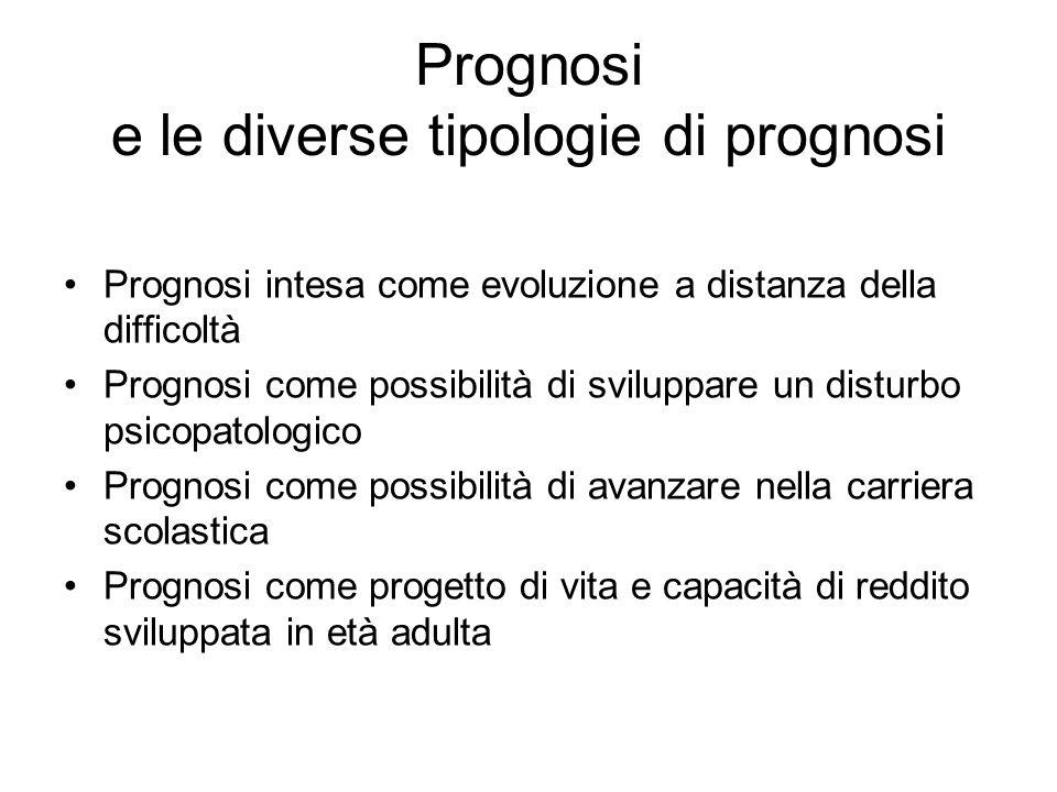 Prognosi e le diverse tipologie di prognosi Prognosi intesa come evoluzione a distanza della difficoltà Prognosi come possibilità di sviluppare un dis