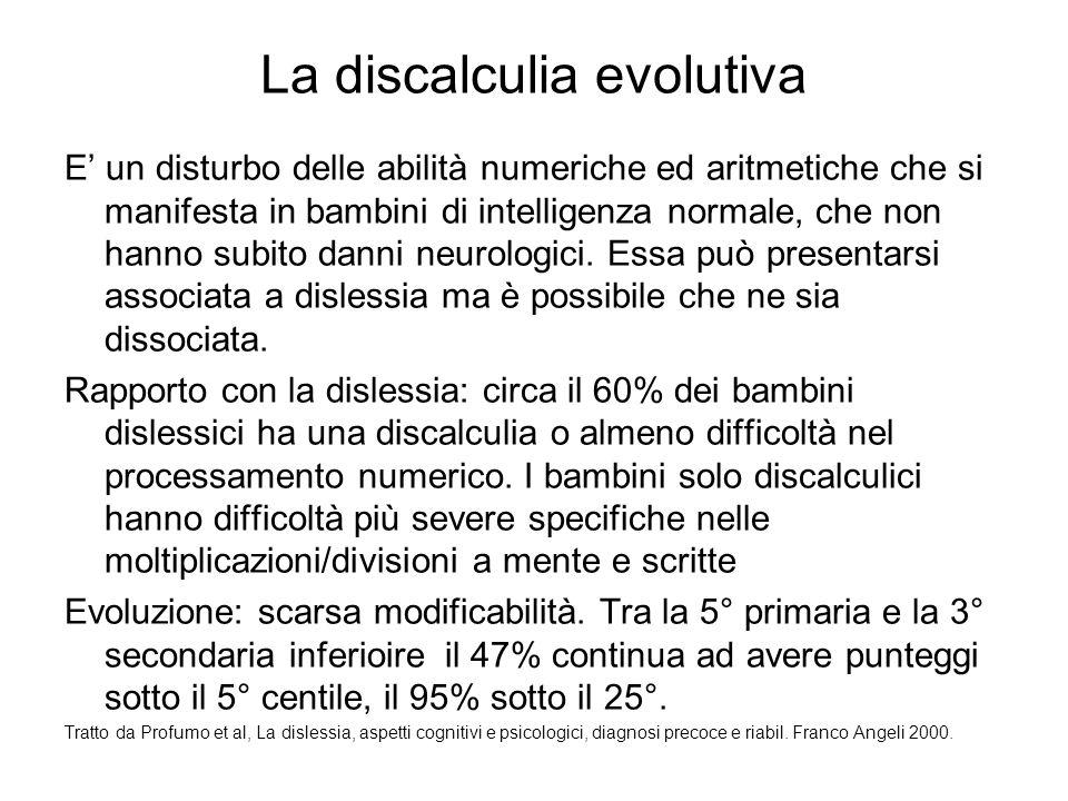 La discalculia evolutiva E' un disturbo delle abilità numeriche ed aritmetiche che si manifesta in bambini di intelligenza normale, che non hanno subi