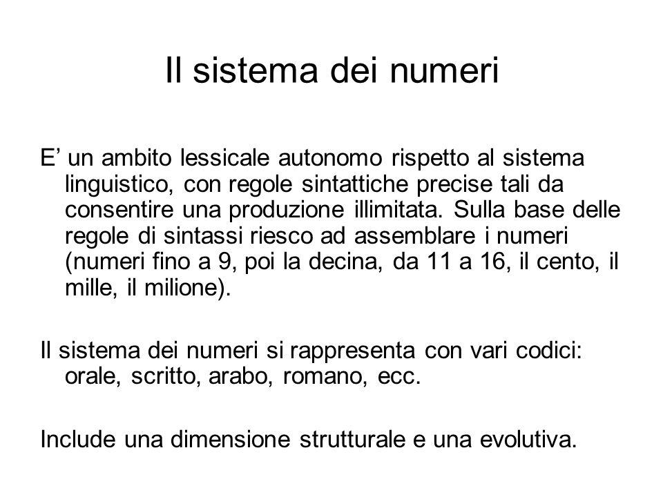 Il sistema dei numeri E' un ambito lessicale autonomo rispetto al sistema linguistico, con regole sintattiche precise tali da consentire una produzion