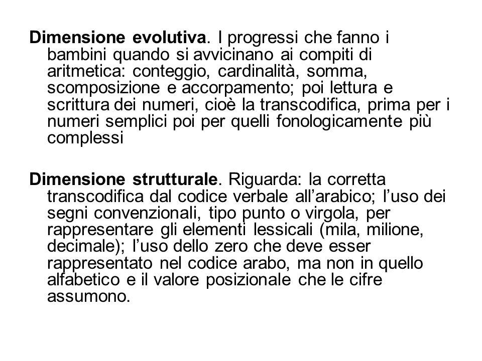 Dimensione evolutiva. I progressi che fanno i bambini quando si avvicinano ai compiti di aritmetica: conteggio, cardinalità, somma, scomposizione e ac