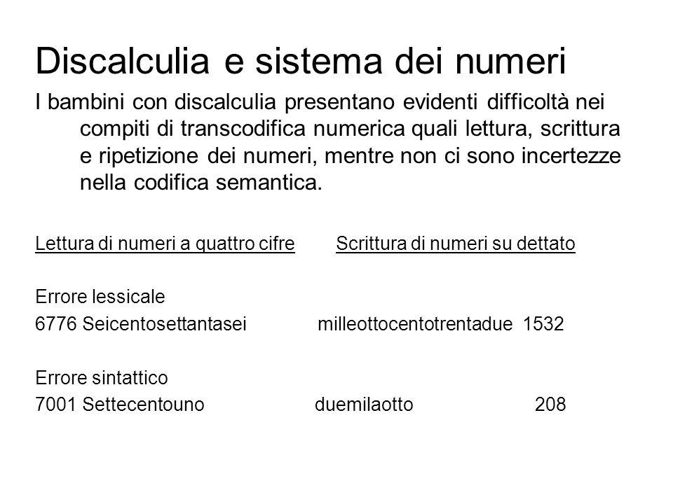 Discalculia e sistema dei numeri I bambini con discalculia presentano evidenti difficoltà nei compiti di transcodifica numerica quali lettura, scrittu