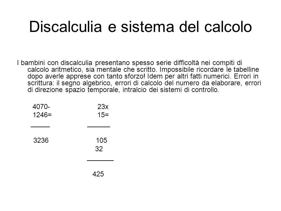 Discalculia e sistema del calcolo I bambini con discalculia presentano spesso serie difficoltà nei compiti di calcolo aritmetico, sia mentale che scri