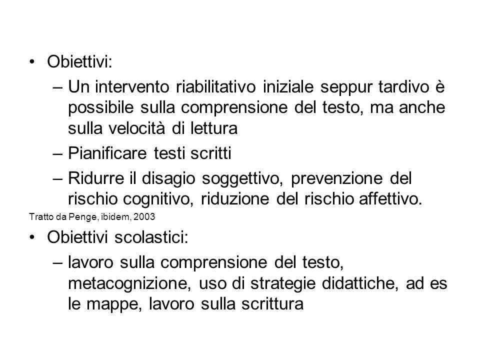Obiettivi: –Un intervento riabilitativo iniziale seppur tardivo è possibile sulla comprensione del testo, ma anche sulla velocità di lettura –Pianific