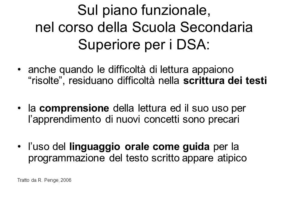 """Sul piano funzionale, nel corso della Scuola Secondaria Superiore per i DSA: anche quando le difficoltà di lettura appaiono """"risolte"""", residuano diffi"""