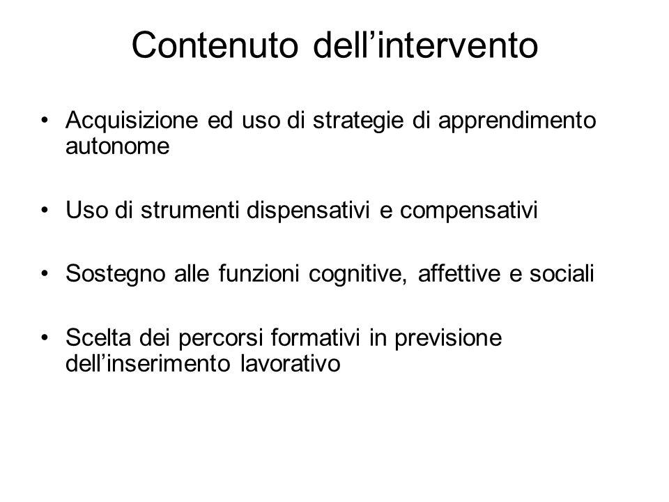 Contenuto dell'intervento Acquisizione ed uso di strategie di apprendimento autonome Uso di strumenti dispensativi e compensativi Sostegno alle funzio