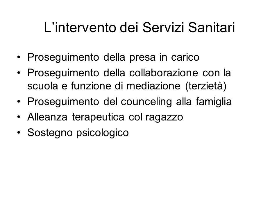 L'intervento dei Servizi Sanitari Proseguimento della presa in carico Proseguimento della collaborazione con la scuola e funzione di mediazione (terzi