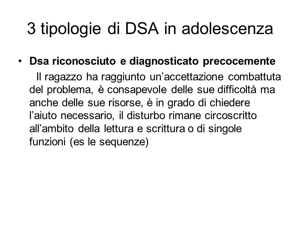 3 tipologie di DSA in adolescenza Dsa riconosciuto e diagnosticato precocemente Il ragazzo ha raggiunto un'accettazione combattuta del problema, è con
