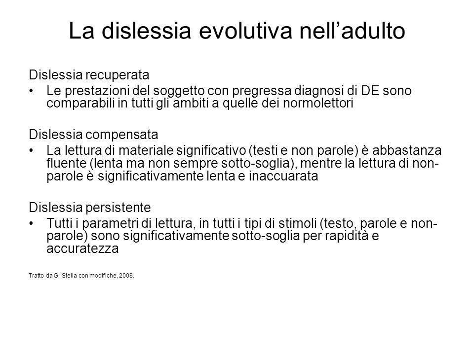 La dislessia evolutiva nell'adulto Dislessia recuperata Le prestazioni del soggetto con pregressa diagnosi di DE sono comparabili in tutti gli ambiti