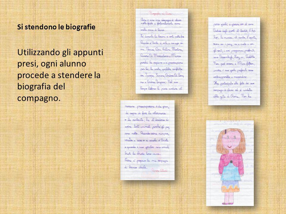 Si stendono le biografie Utilizzando gli appunti presi, ogni alunno procede a stendere la biografia del compagno.