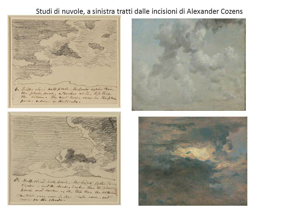 Studi di nuvole, a sinistra tratti dalle incisioni di Alexander Cozens