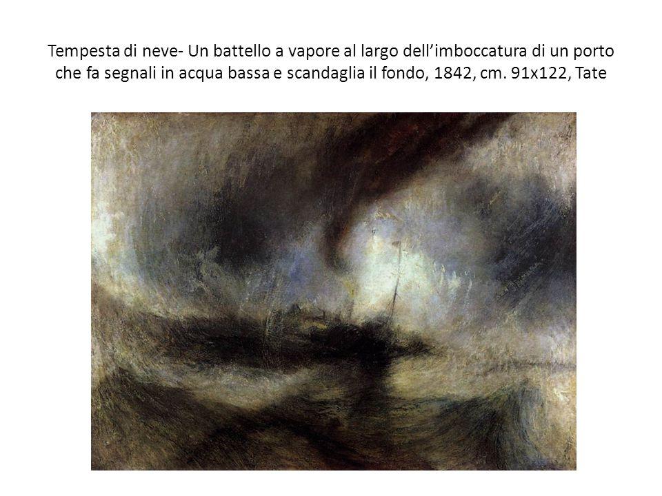 Tempesta di neve- Un battello a vapore al largo dell'imboccatura di un porto che fa segnali in acqua bassa e scandaglia il fondo, 1842, cm. 91x122, Ta