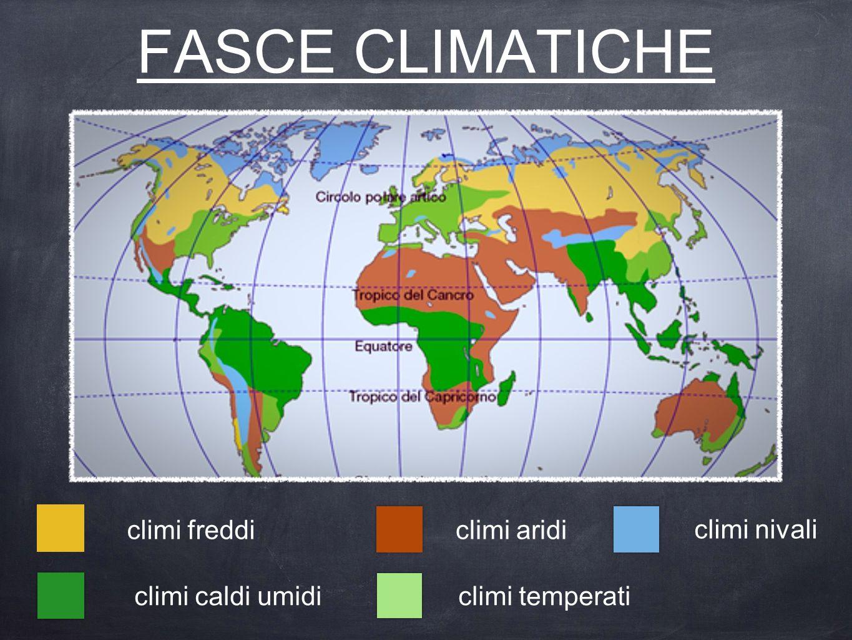 FASCE CLIMATICHE climi nivali climi aridi climi temperaticlimi caldi umidi climi freddi