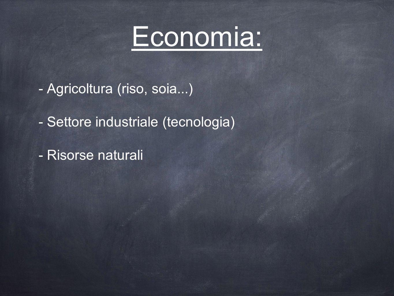 Economia: - Agricoltura (riso, soia...) - Settore industriale (tecnologia) - Risorse naturali